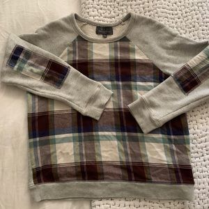 Plaid sweatshirt with patch elbows